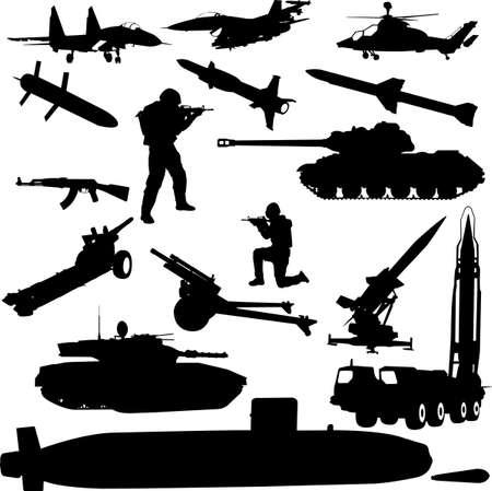 silhouette soldat: silhouette militaire  Illustration