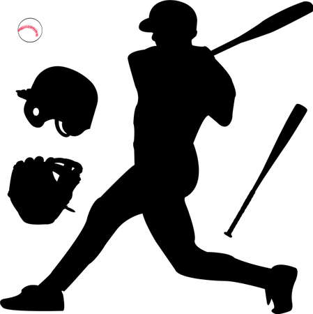 batter:  baseball silhouette Illustration
