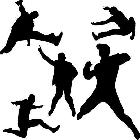 people jumping silhouettes Vector