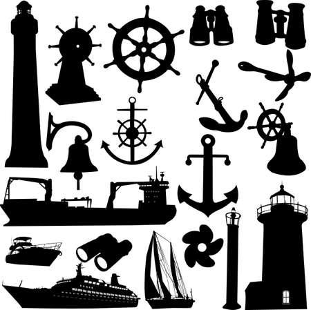 rudder: grande insieme di elementi nautiche Vettoriali