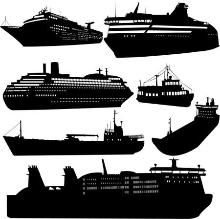 passenger: Set of silhouettes of ships
