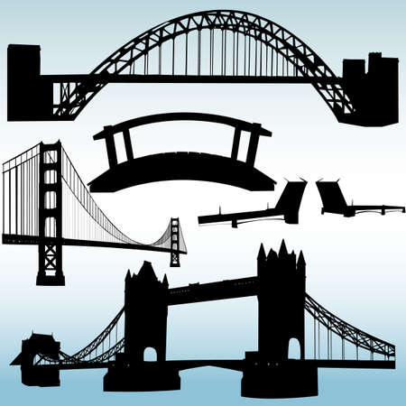 suspension bridge: bridges collection  Illustration