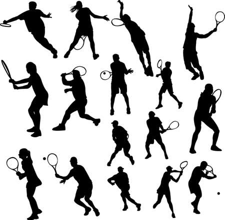 tennis players collection  Vector