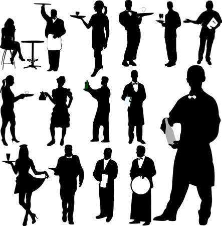 waiters and waitresses silhouette Vector