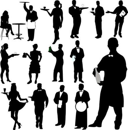 waitresses: waiters and waitresses silhouette Illustration