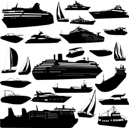 nautical flags: collection of sea transportation (cruise, motor-yacht, sailing boat)
