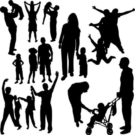 ser padres: Siluetas de familias  Vectores