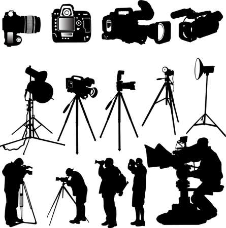 focus on shadow: cameraman,photographers and cameras