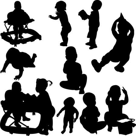 children and babies silhouettes  Illustration