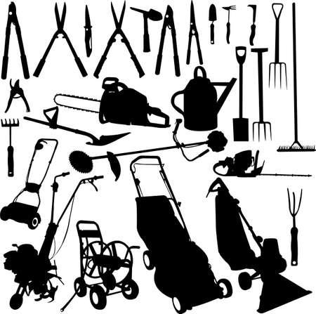 schubkarre: Garten-Tools Set - vector Illustration