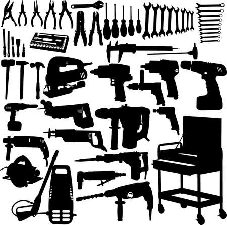 toolbox: tools silhouettes collection