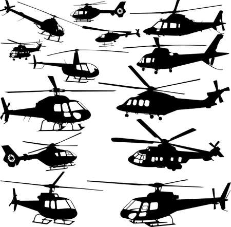 vehicle combat: helicopters collection - vector