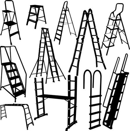 climbing up: ladders collection - vector Illustration