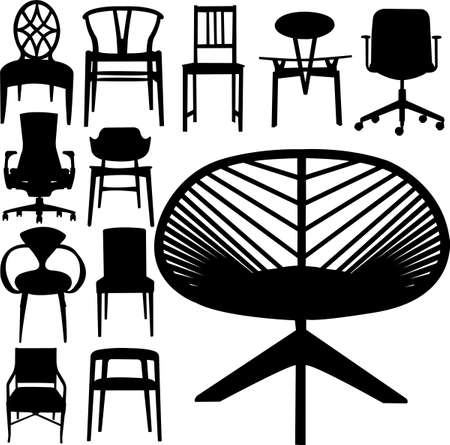 danish: chair design set Illustration