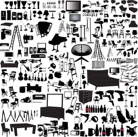 big collection of home items  Illustration
