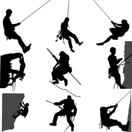 free climber: rock climbing  Illustration