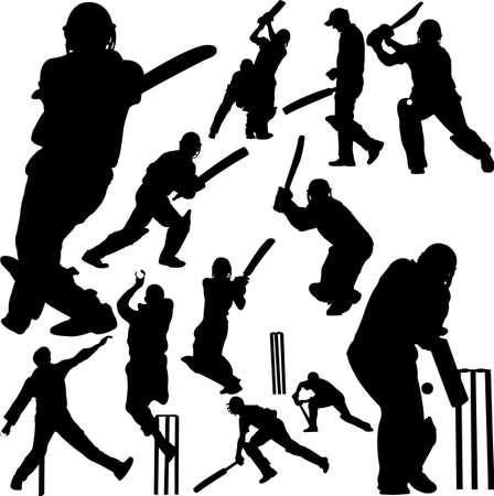 chauve souris: Cricket joueurs collection 2 - vecteur Illustration