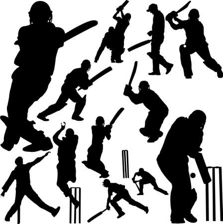 crickets: cricket players collection 2 - vector Illustration