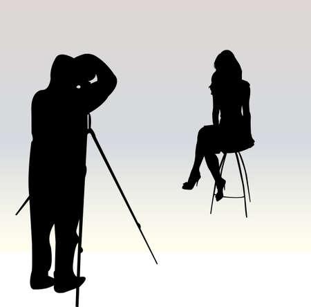 studio shot: photographer vector Illustration