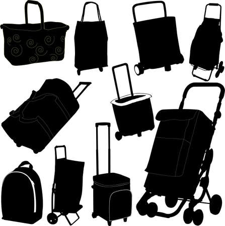 Black shopping bags vector set Vector