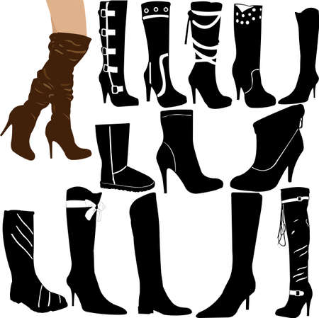 woman boot collection - vector