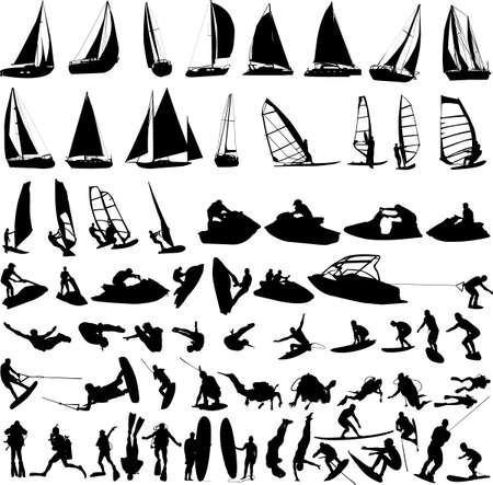surf silhouettes: water sports collection vector