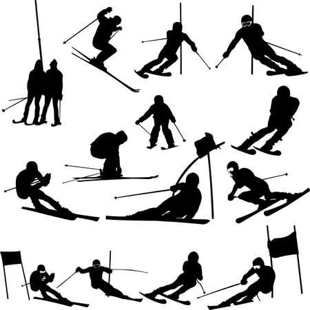스키: skiing collection - vector