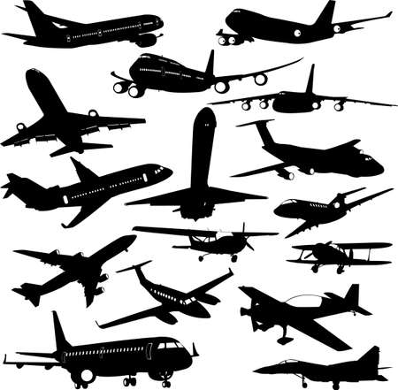 commercial airline: airplane collection 2 - vector Illustration