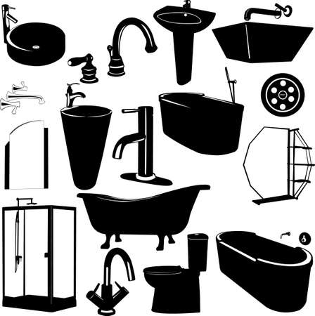 bathtubs: set of bathroom objects vector