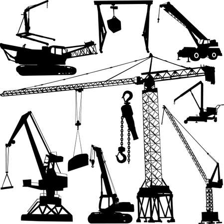 urban planning: construction crane collection - vector Illustration