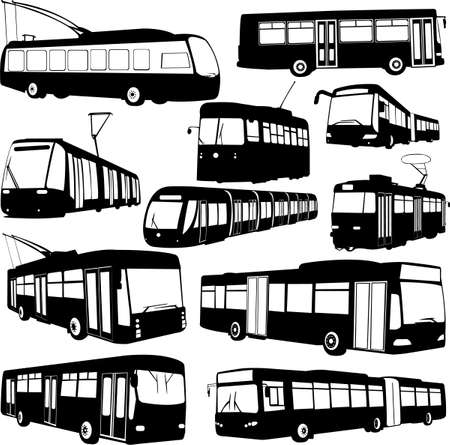 autobus: urban transportation collection - vector