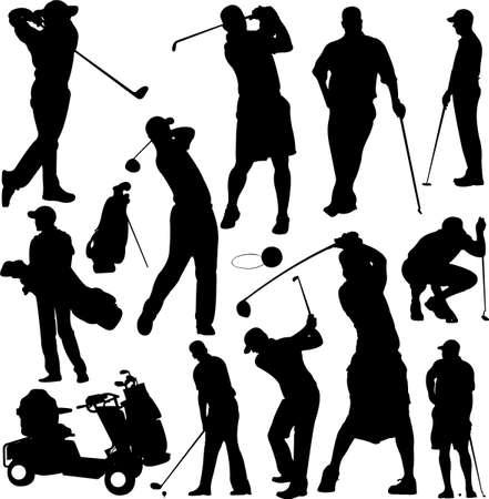 swings: colecci�n de siluetas de golfistas Vectores
