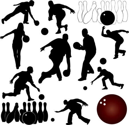 ten pin bowling: bowling people silhouettes