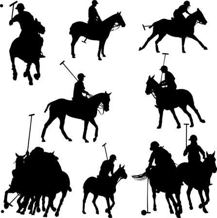 polo: Polo spelers paarden  Stock Illustratie