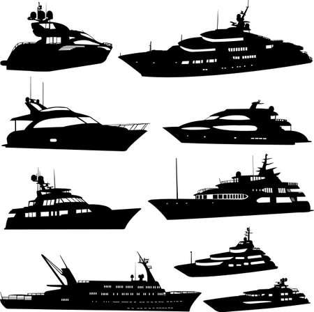 yachts: raccolta di yacht a motore Vettoriali