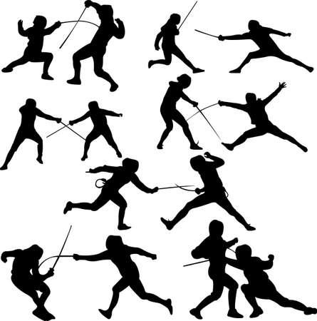 esgrima: Esgrima deporte - vector - silhouet Vectores