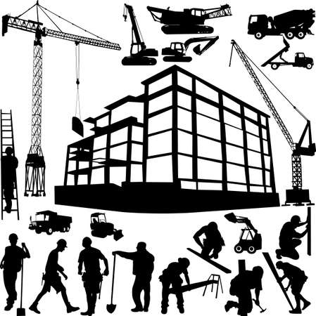 building construction site: construction objects vector (crane - worker - building - skimmer)