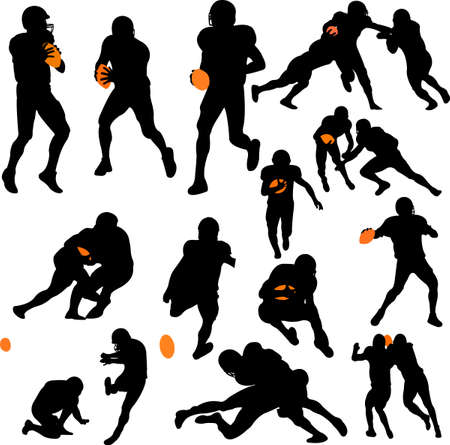 football american: american football collection vector Illustration