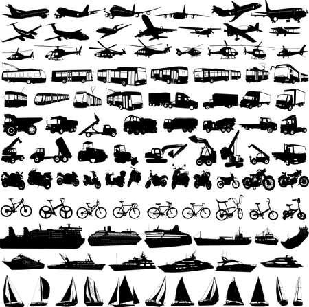 transporte: colecci�n de siluetas de transporte