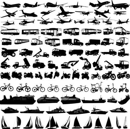 crawler: transportation silhouettes collection