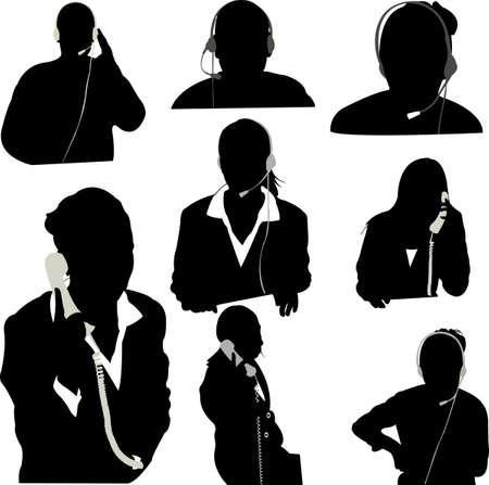 call center woman: vector de operador de centro de Secretario y llamada