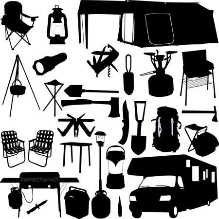 camping equipment: camping equipment  Illustration