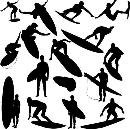 surfer silhouette: surfers collection