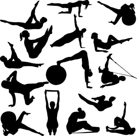 siluetas mujeres: siluetas de mujeres de Pilates Vectores