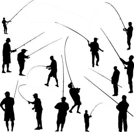 pescador: los pescadores y equipos de pesca 1 Vectores