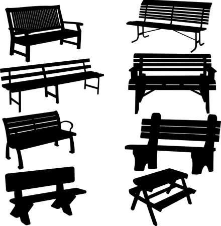 banc de parc: silhouette de banc 2 Illustration