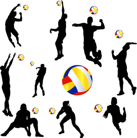 volleyball player set Vector