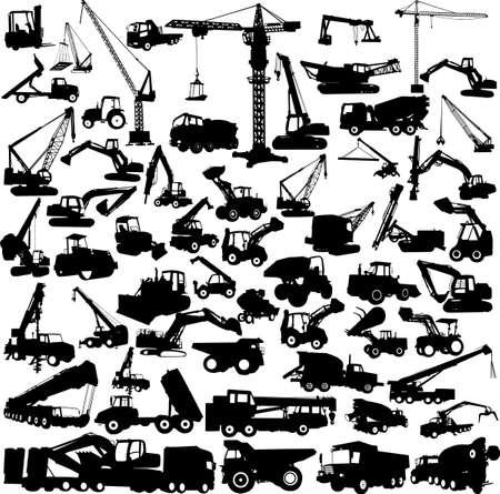 silhouette voiture: grande collection de construction machine