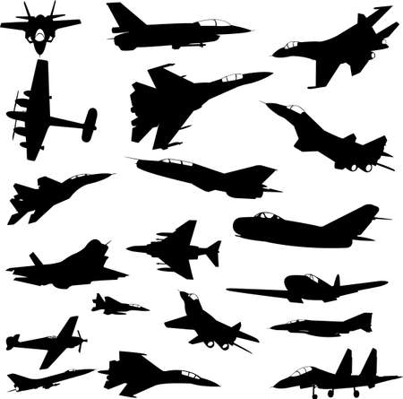 military airplanes collection - vector Vector
