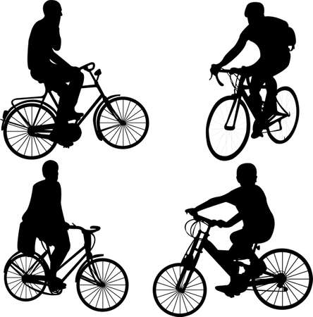 helmet seat: people riding bicycle - vector Illustration